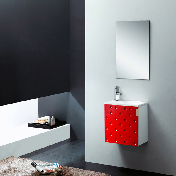 badm bel set g ste wc waschbecken waschtisch somo weiss schwarz rot 40cm ebay. Black Bedroom Furniture Sets. Home Design Ideas