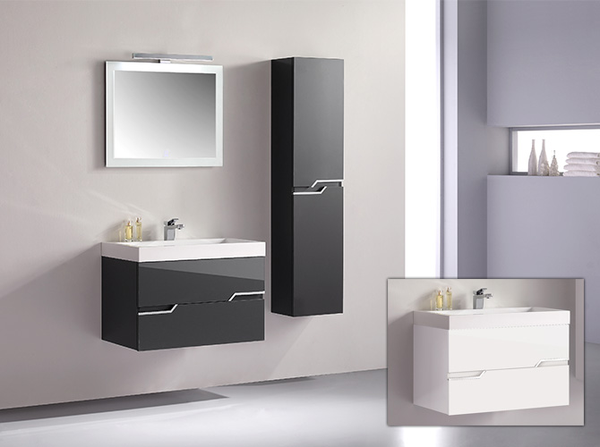 badm bel g ste wc waschbecken waschtisch spiegel antonella grau weiss 80cm ebay. Black Bedroom Furniture Sets. Home Design Ideas