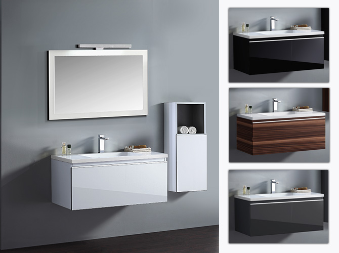 badm bel set g ste wc waschbecken waschtisch spiegel cosma schwarz weiss 100cm ebay. Black Bedroom Furniture Sets. Home Design Ideas