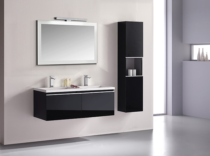 badm bel set g ste wc doppelwaschbecken waschtisch cosma schwarz weiss 120cm ebay. Black Bedroom Furniture Sets. Home Design Ideas