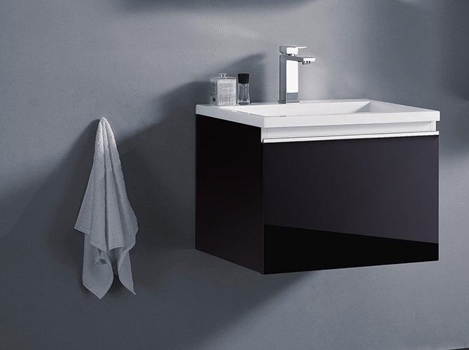badm bel set g ste wc waschbecken waschtisch spiegel cosma schwarz weiss 60cm ebay. Black Bedroom Furniture Sets. Home Design Ideas