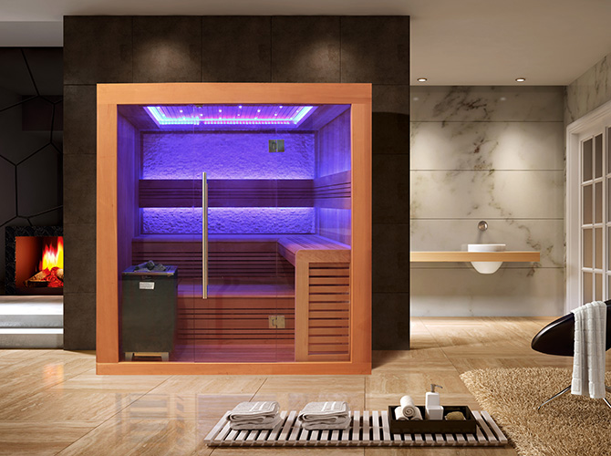 finnische luxus sauna dina vollausstattung rgb led 9kw eos. Black Bedroom Furniture Sets. Home Design Ideas